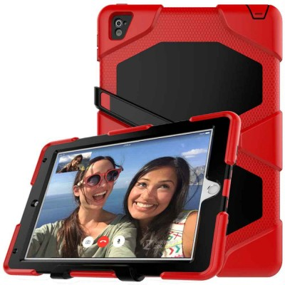 Heavy Duty Hybrid Case For iPad Air 2/Pro 9.7/6G w/ Kickstand - Red