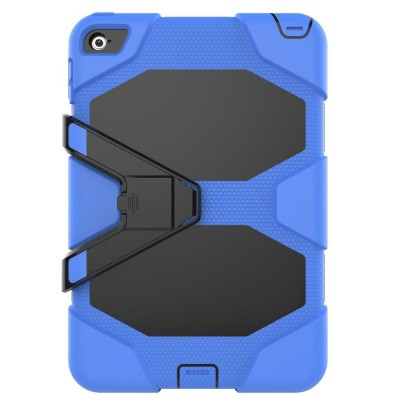 Heavy Duty Hybrid Case For iPad Mini 4 w/ Kickstand - Blue