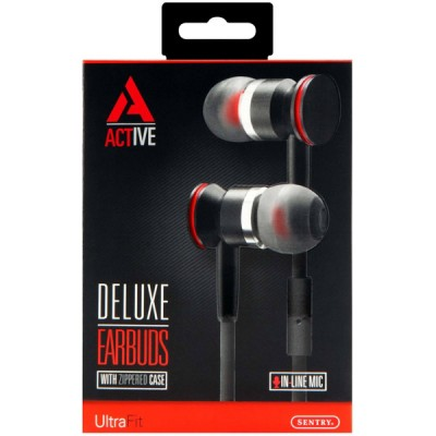 Sentry Active Deluxe Earbuds w/ In-Line mic - HA100