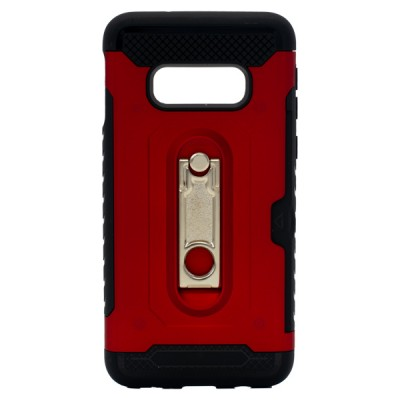 Credit Card Metal Kickstand Case for Galaxy S10E - Red