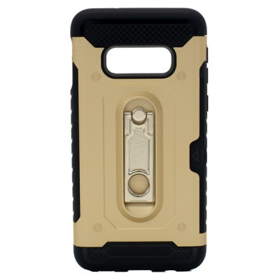 Credit Card Metal Kickstand Case for Galaxy S10E - Gold
