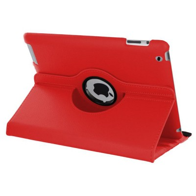 Rotating Leather Case for iPad 2/3/4 - Red