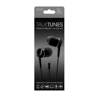TalkTunes Stereo Earbuds in-line MIC-Black