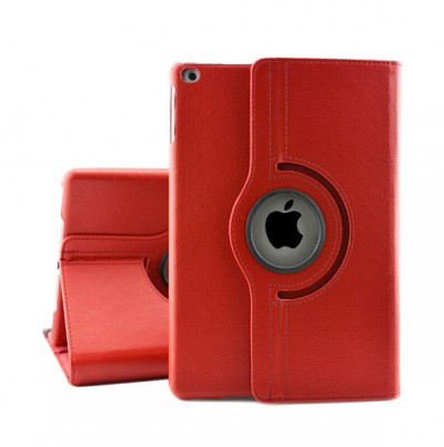 Rotating Leather Case for iPad 5/6 9.7in - Red