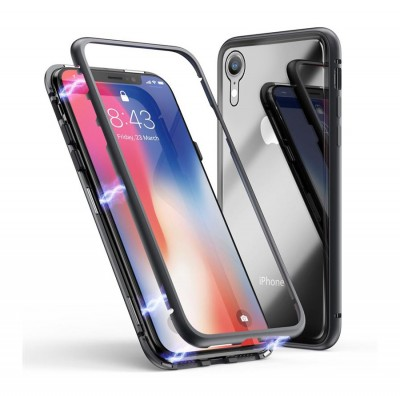 360* Magnetic Absorption Metal TG Case for Iphone XR-Black