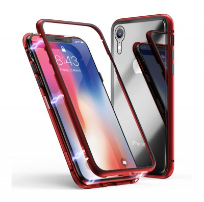 360* Magnetic Absorption Metal TG Case for Iphone XR-Red