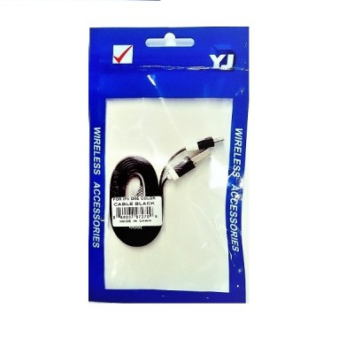 Flat Noodle Lightning Data Cable for iPhone - Black