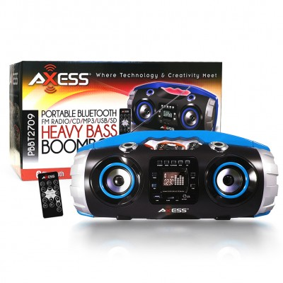Axess BT Portable BoomBox LCD Display w/ Remote - Blue