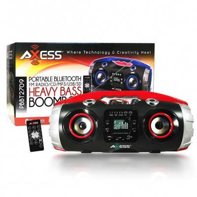 Axess BT Portable BoomBox LCD Display w/ Remote - Red