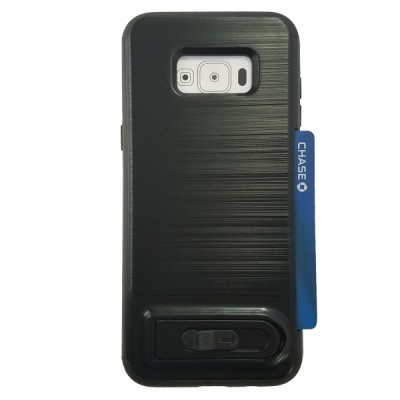 Galaxy S8 Plus Sliding Credit Card Hold Case with Kick Stand - Black