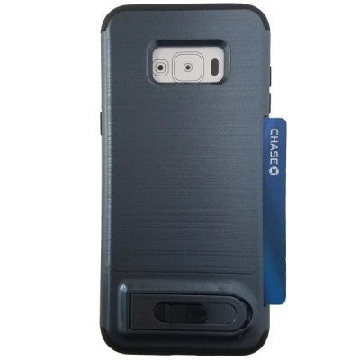 Galaxy S8 Plus Sliding Credit Card Hold Case with Kick Stand - Blue