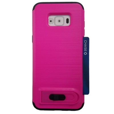 Galaxy S8 Plus Sliding Credit Card Hold Case with Kick Stand - Pink