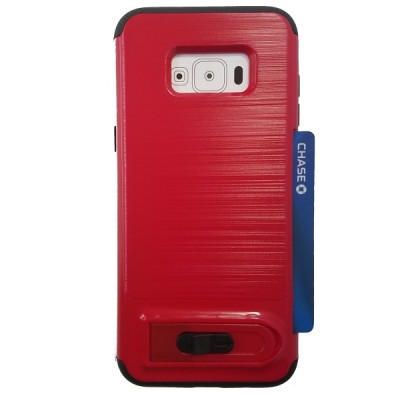Galaxy S8 Plus Sliding Credit Card Hold Case with Kick Stand - Red