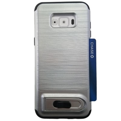Galaxy S8 Plus Sliding Credit Card Hold Case with Kick Stand - Silver