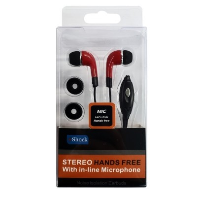N-Shock Stereo Hands Free Earbud With Mic 3002T - Red