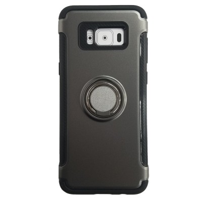 Galaxy S8 Plus Rugged Ring Stand Slim Armor Case - Gray