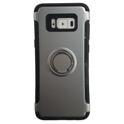 Galaxy S8 Plus Rugged Ring Stand Slim Armor Case - Silver