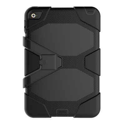 Heavy Duty Hybrid Case For iPad Mini 4 w/ Kickstand - Black