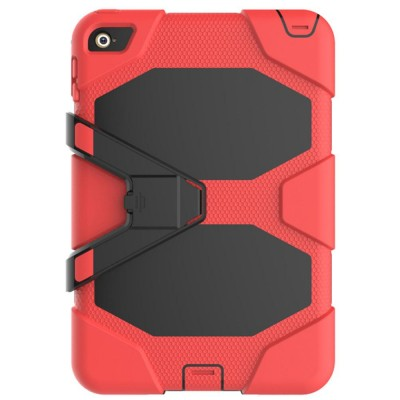 Heavy Duty Hybrid Case For iPad Mini 4 w/ Kickstand - Red