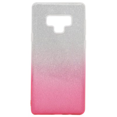 TPU Clear PC with Glitter for Samsung Galaxy Note 9 - Silver Pink