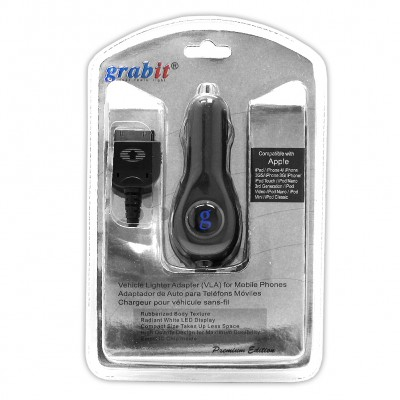 Grabit Car Charger for iPhone 3/4 iPad,ipod touch Retail Package