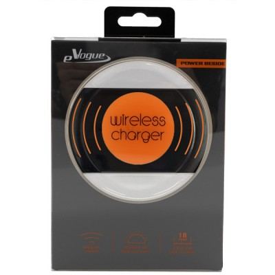 Fast Wireless Charger with Blue Flashing Light - Black