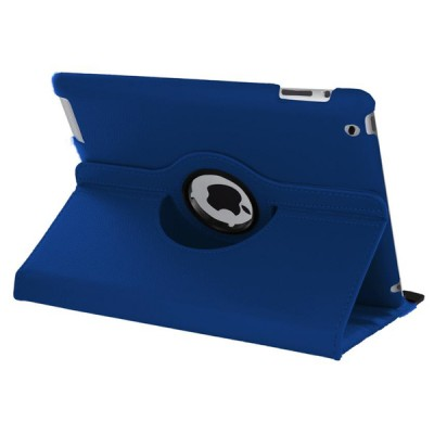 Rotating Leather Case for iPad 2/3/4 - Blue
