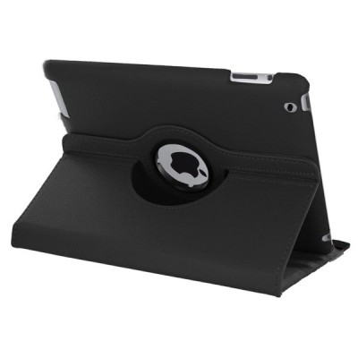 Rotating Leather Case for iPad 2/3/4 - Black