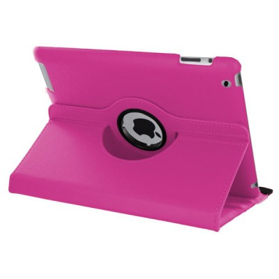 Rotating Leather Case for iPad 2/3/4 - Pink