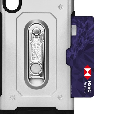 Credit Card Metal KS Case for IPhone XR - Silver
