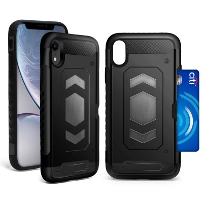 Credit Card Megnetic Plate Case for IPhone XR - Black