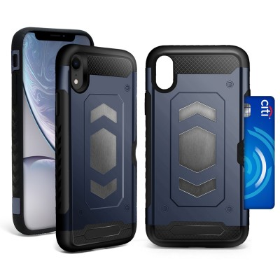 Credit Card Megnetic Plate Case for IPhone XR - Blue