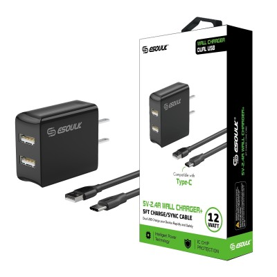 Esoulk 2.4A Dual USB Charger w/ 5ft Type C Cable