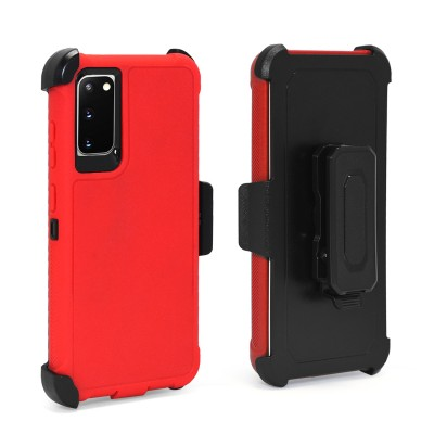 Anti-Drop Protection 3-IN-1 Heavy Duty Case w/ Holster for Galaxy S20 - Red