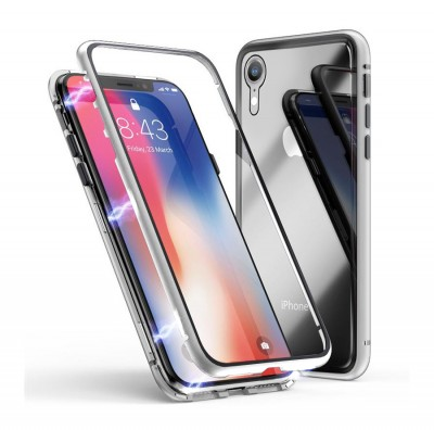 360* Magnetic Absorption Metal TG Case for Iphone XR-Silver