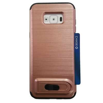 Galaxy S8 Plus Sliding Credit Card Hold Case with Kick Stand - Rose Gold