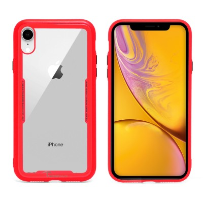 Clear Temper Glass Case for Iphone XR - Red