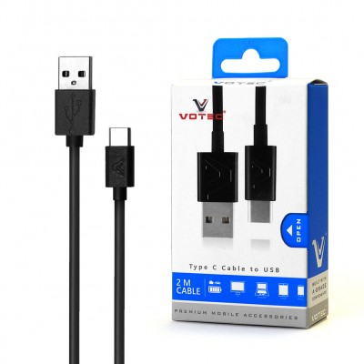 Votec USB Cable Type C 2M/4.0 1Amp - Black